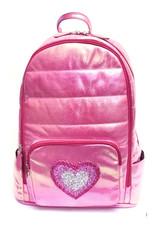 Bari Lynn Bari Lynn Iridescent Hot Pink Backpack with Multi Pink Heart