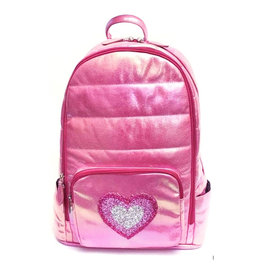 Bari Lynn Iridescent Hot Pink Backpack with Multi Pink Heart