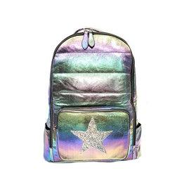 Bari Lynn Galaxy Puffy Backpack with Glitter Star