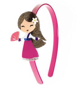 Lillies & Roses Headband Cute Doll Dark Pink Dress
