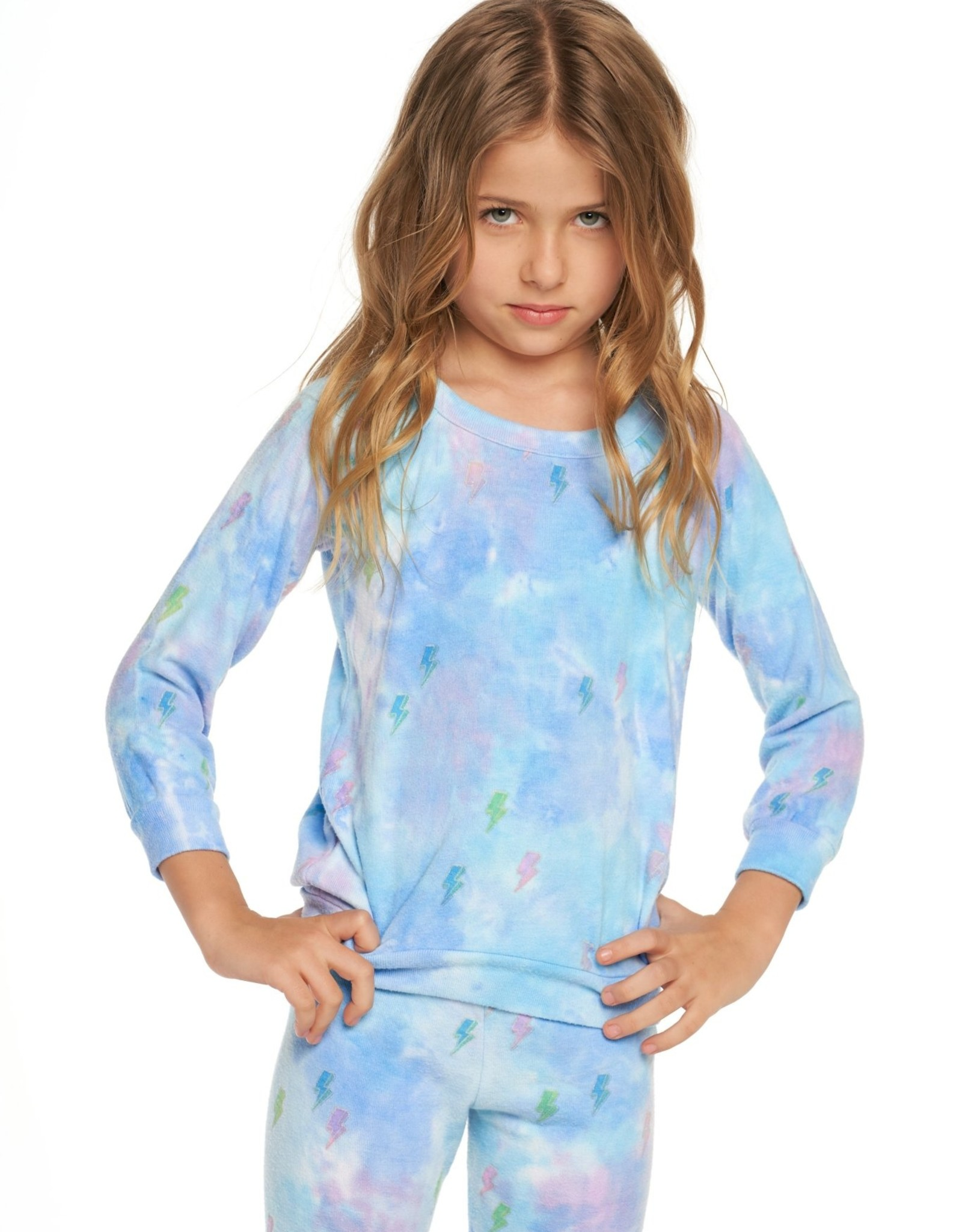 Chaser Brand Tie Dye Bolts Pullover