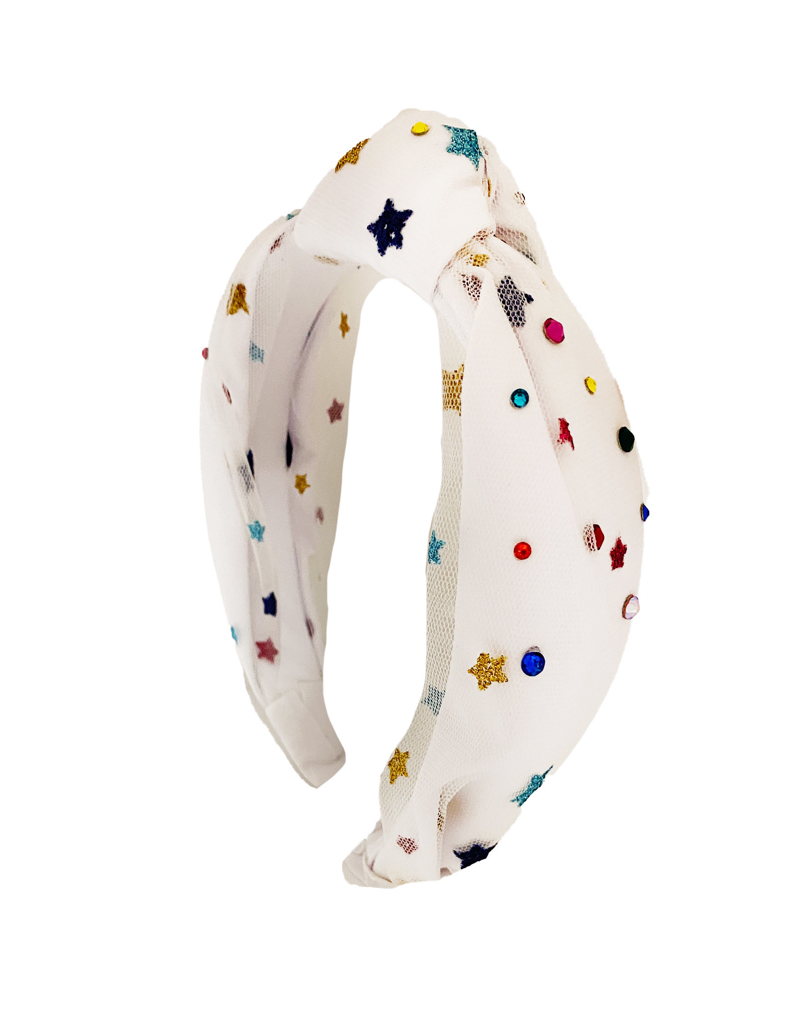 Bari Lynn White Mesh Star Knot Headband
