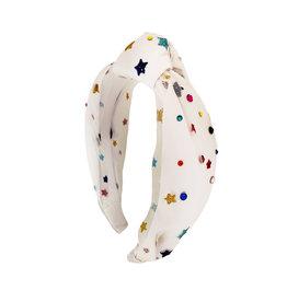 Bari Lynn White Tulle Rainbow Star Knotted Headband