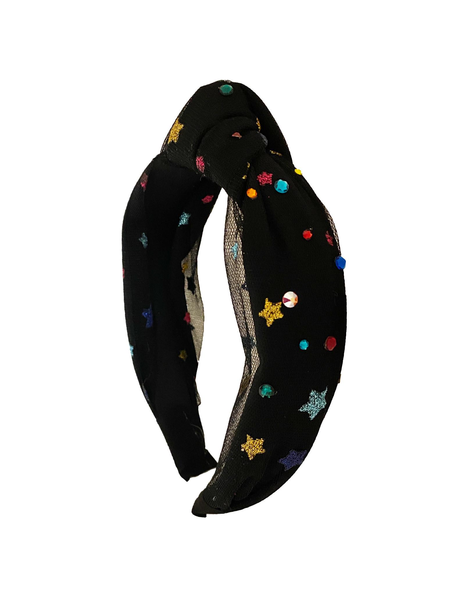 Bari Lynn Black Tulle Rainbow Star Knotted Headband