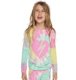 Chaser Brand Tie Dye Bolt Heart Pullover