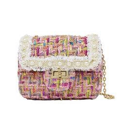 Tiny Treats & Zomi Gems Classic Tweed Pink Handbag with Pearls