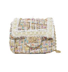 Tiny Treats & Zomi Gems Classic Tweed White Handbag with Pearls