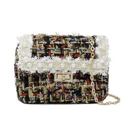 Tiny Treats & Zomi Gems Classic Tweed Black Handbag with Pearls