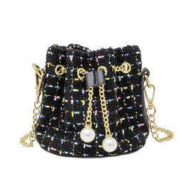 Tiny Treats & Zomi Gems Tweed Drawstring Bag Black
