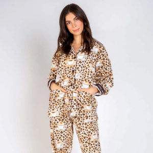 PJ Salvage Flannel Coffee Bean PJ Set Taupe