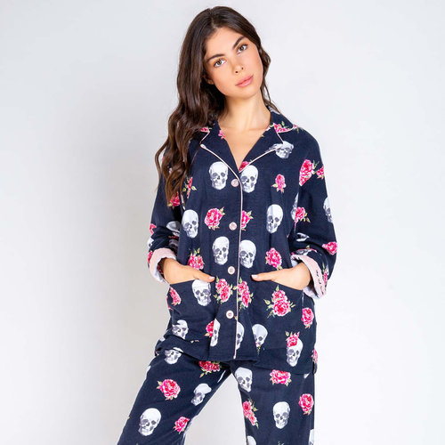 PJ Salvage Skull Flannel Set