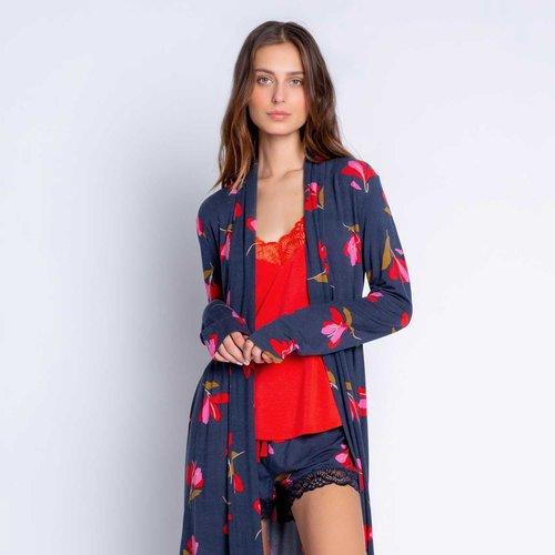 PJ Salvage Love Blooms Floral Navy Robe