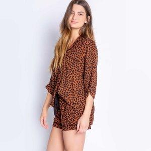PJ Salvage Wild Love Leopard Mocha Short PJ Set