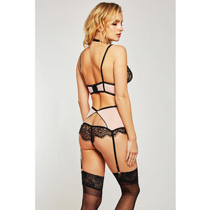 ESTRELLA LACE & STRETCH SATEEN BRA & GARTER SET