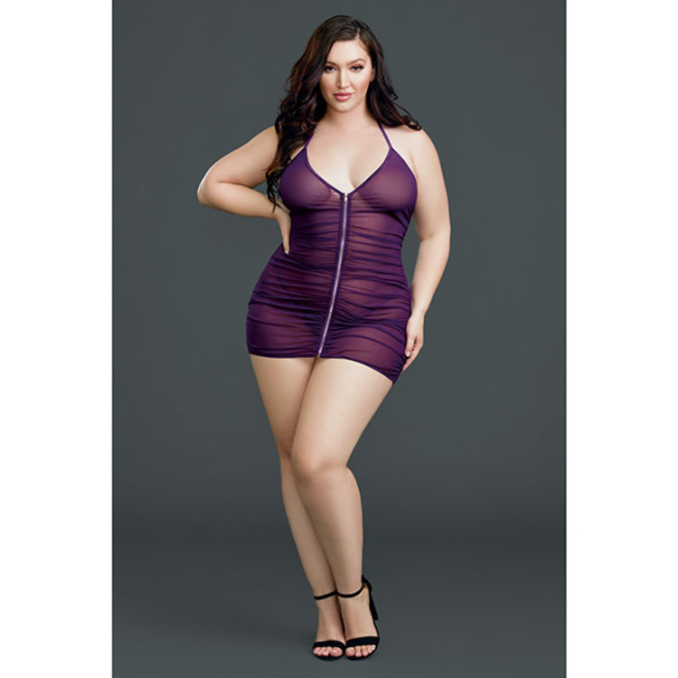 RUCHED SHEER ZIPPER-FRONT CHEMISE