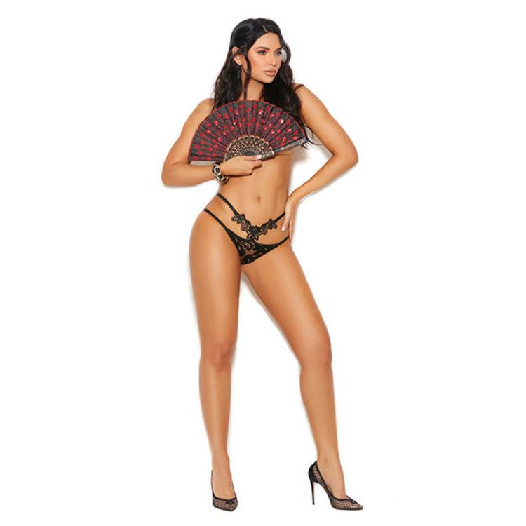 EMBROIDERED APPLIQUE LACE PANTY