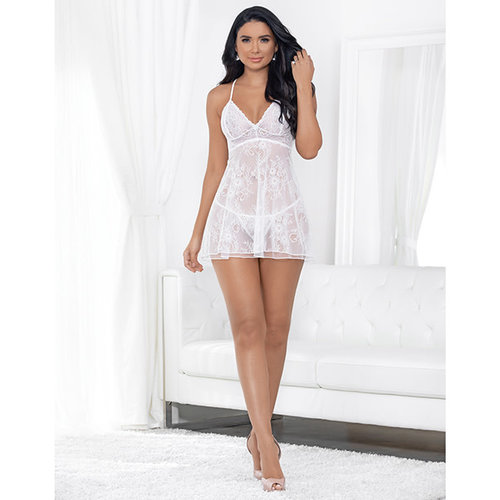 DOUBLE LAYERED CHANTILLY LACE BABYDOLL w/ PANTY