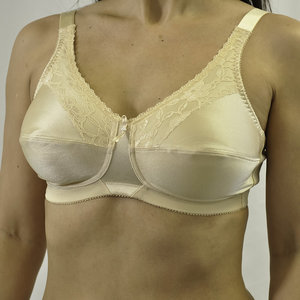 SATIN & LACE SOFT CUP BRA BEIGE