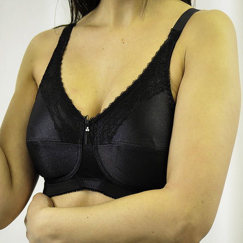 SATIN & LACE SOFT CUP BRA BLACK