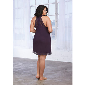 SOFT KNIT JERSEY CHEMISE in EGGPLANT