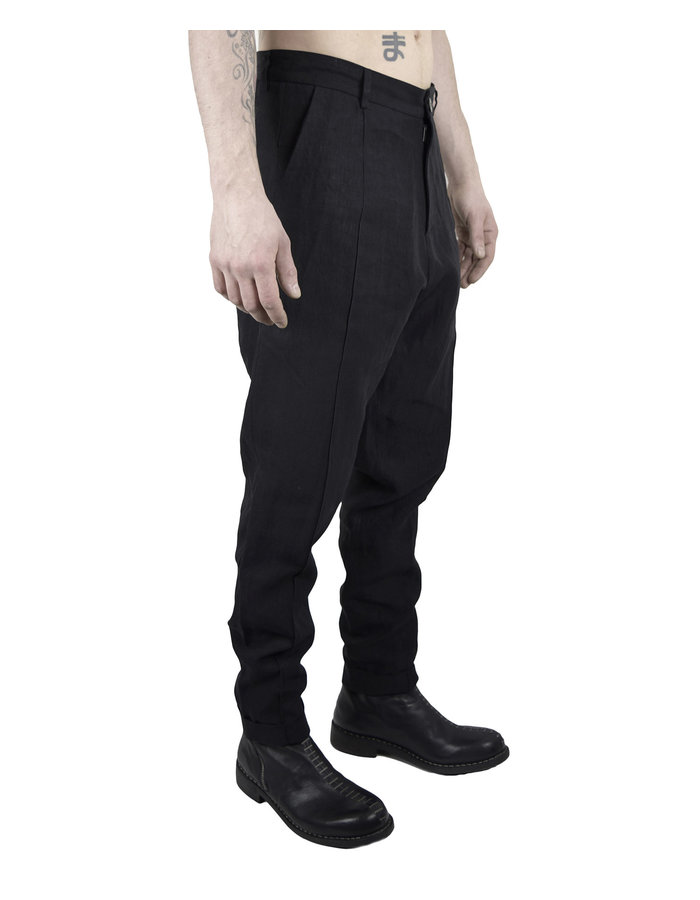 ISABEL BENENATO BASIC LINEN PANT - BLACK
