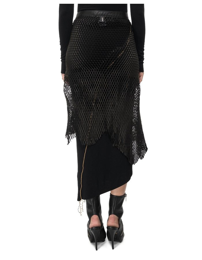 DAVIDS ROAD LEATHER MESH WRAP SKIRT