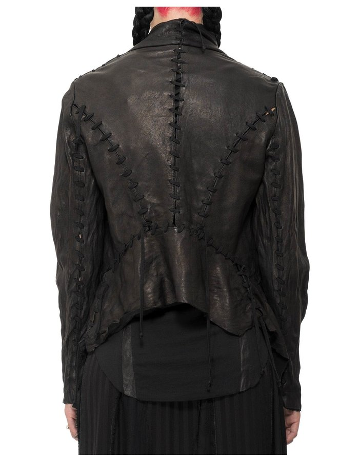 SANDRINE PHILIPPE LEATHER LACED JACKET