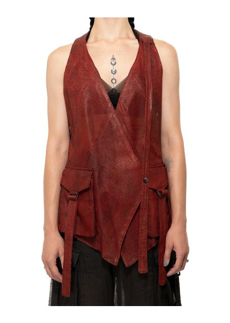 MASNADA PERFORATED LEATHER VEST - CINAMMON
