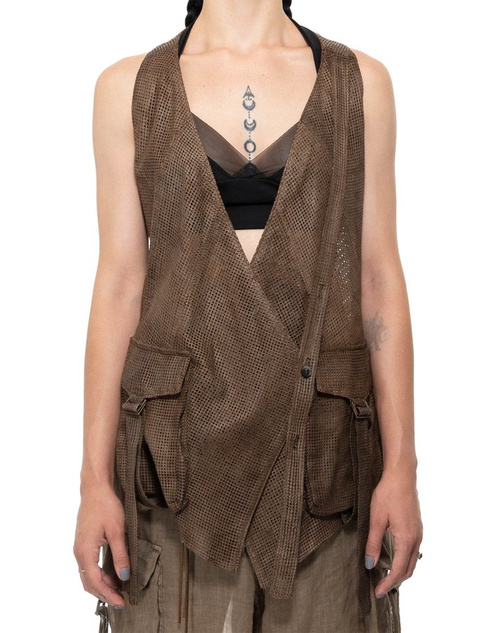 MASNADA PERFORATED LEATHER VEST - DUST