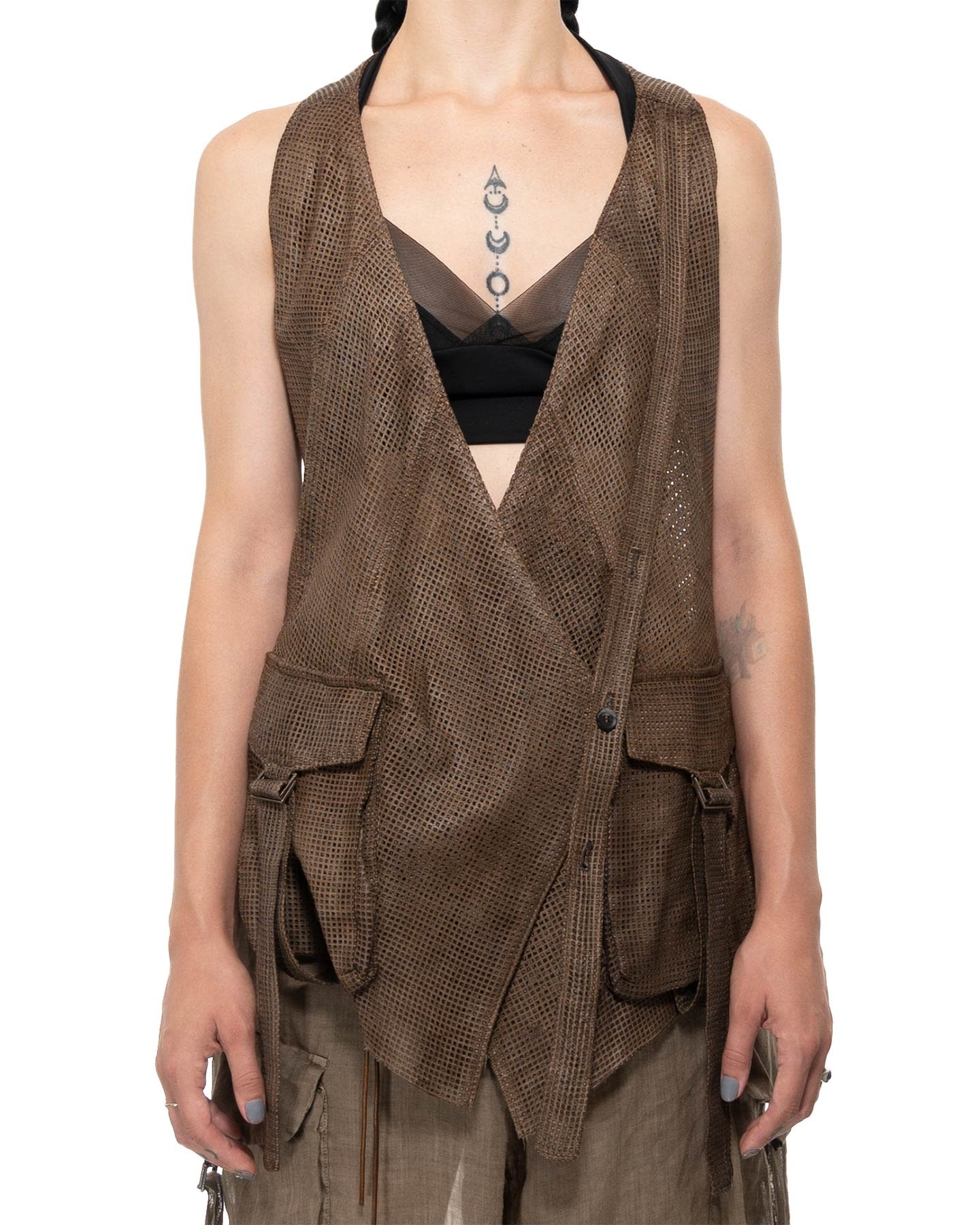 PERFORATED LEATHER VEST - DUST