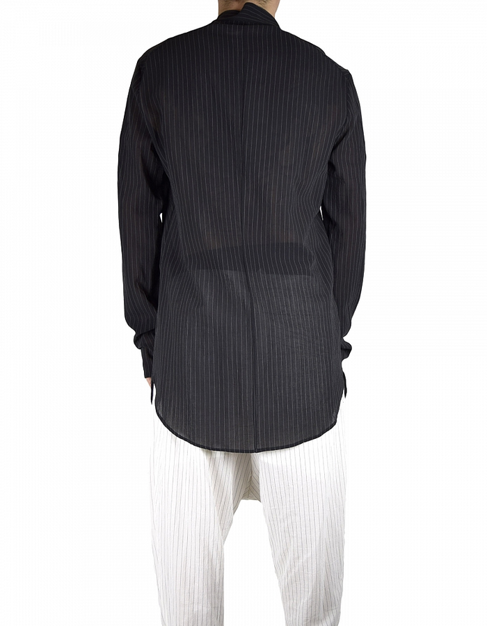 LOST AND FOUND SHIFTED FRONT SHIRT BLACK PINSTRIPE