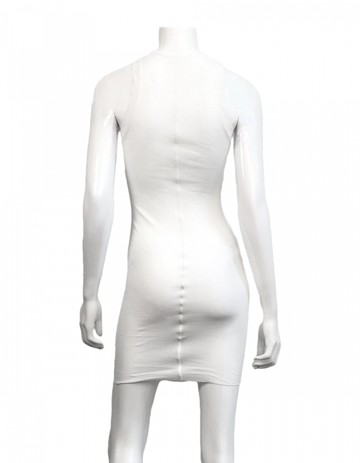 ISABEL BENENATO RIBBED SHORT TANK DRESS/ TUNIC - WHITE