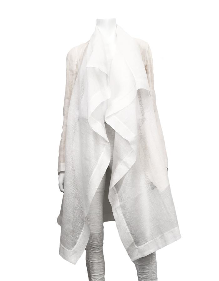 MASNADA SHEER LINEN COAT - WHITE