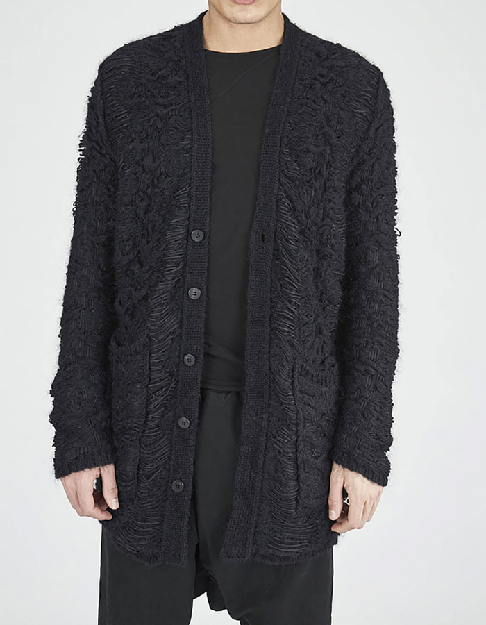 ISABEL BENENATO JACQUARD KNIT CARDIGAN WITH POCKETS - BLACK