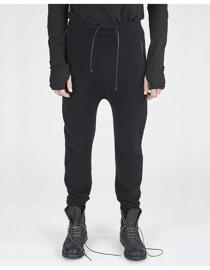 ISABEL BENENATO WOOL SPORT TROUSER WITH LEATHER POCKET - BLACK