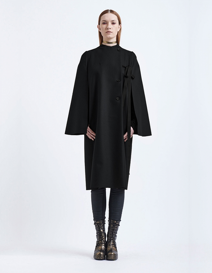 MASNADA WOOL AND ALPACA TIE CAPE COAT - BLACK