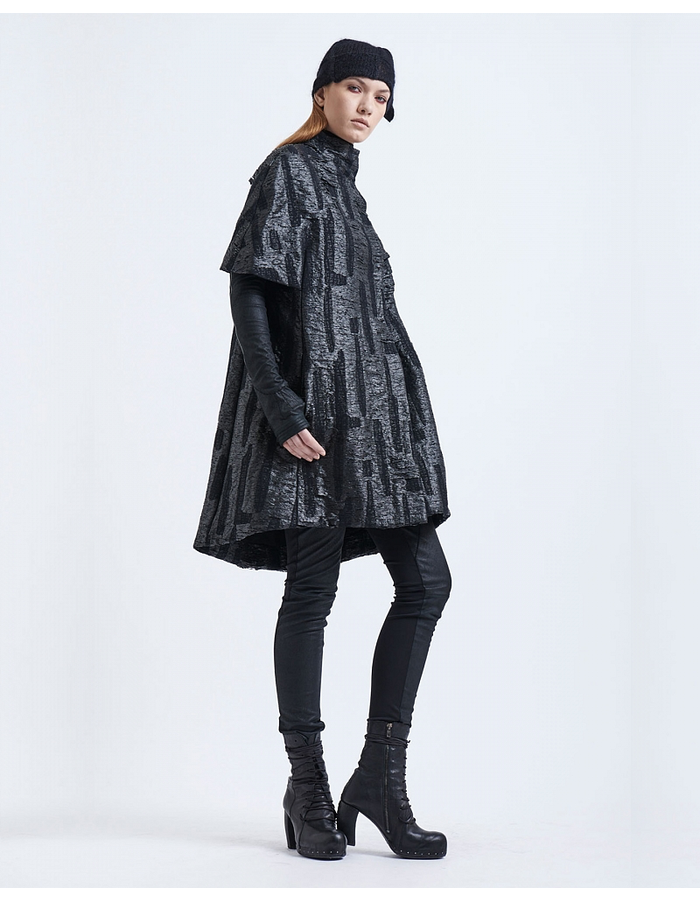 MASNADA TEXTURED BROCADE CAPE WITH SLEEVES - BLACK