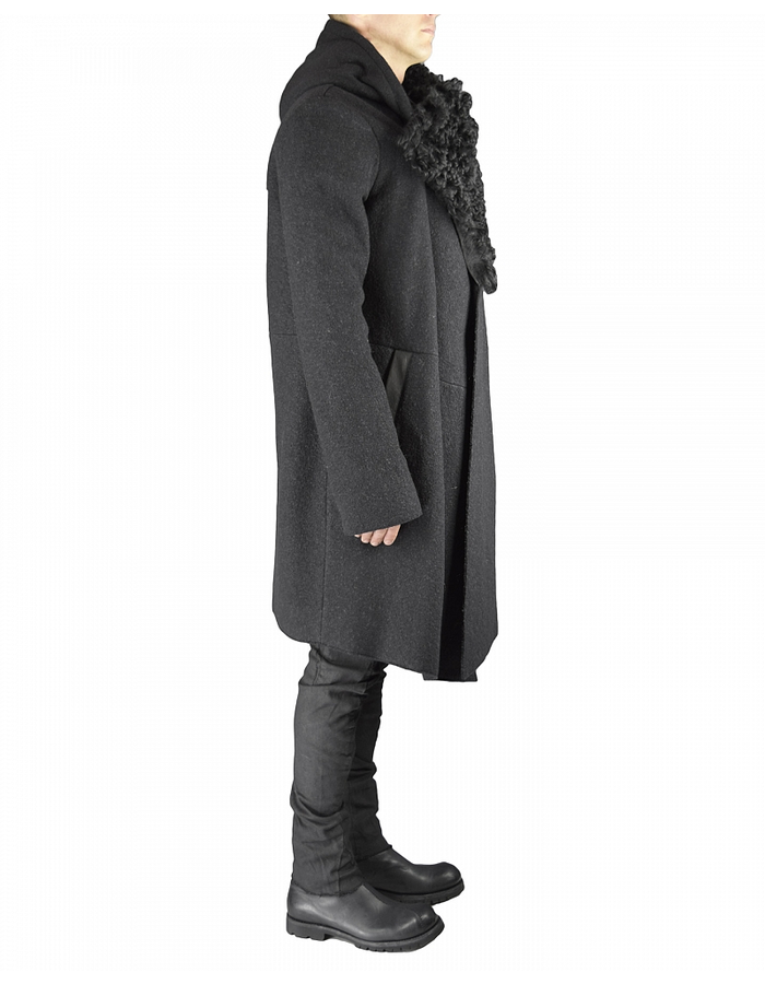 LOST AND FOUND HOODED WOOL COAT WITH SHEARLING