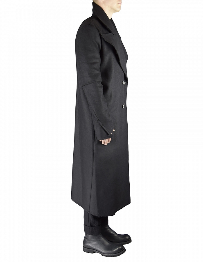 NOSTRA SANTISSIMA DOUBLE BREASTED WOOL TRENCH COAT