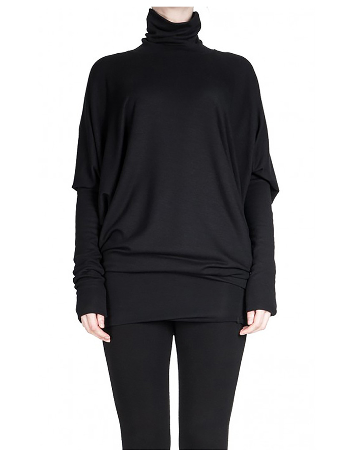 DAVIDS ROAD BATWING DRESS WITH TURTLE NECK - BLACK