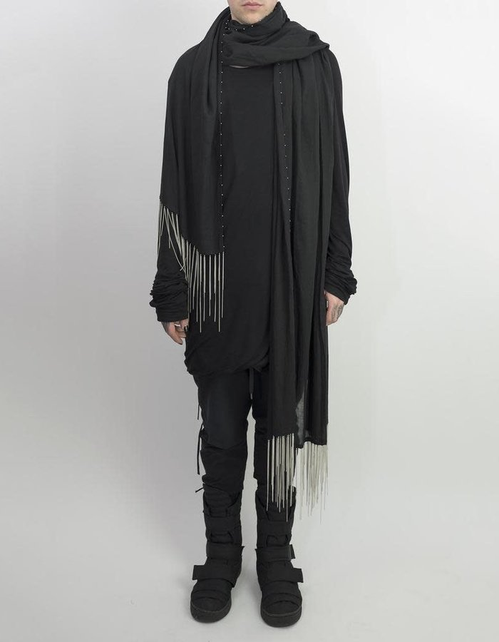 DAVIDS ROAD LONG SCARF WITH METAL CHAINS - BLACK