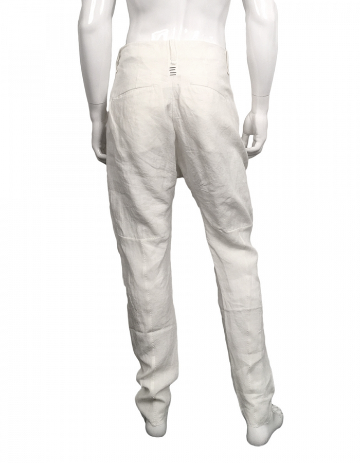 MASNADA CRUMPLED LINEN BAGGY PANT - WHITE