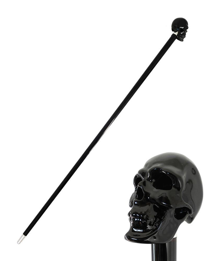 BLACK SKULL WALKING STICK