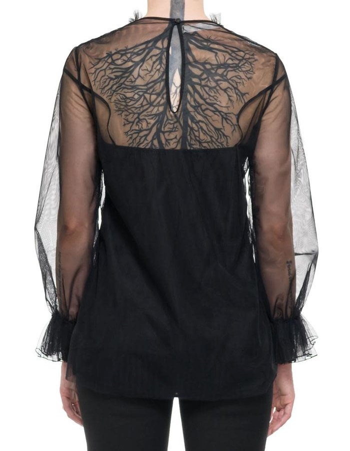 NOSTRA SANTISSIMA RUFFLE FRONT TULLE BLOUSE