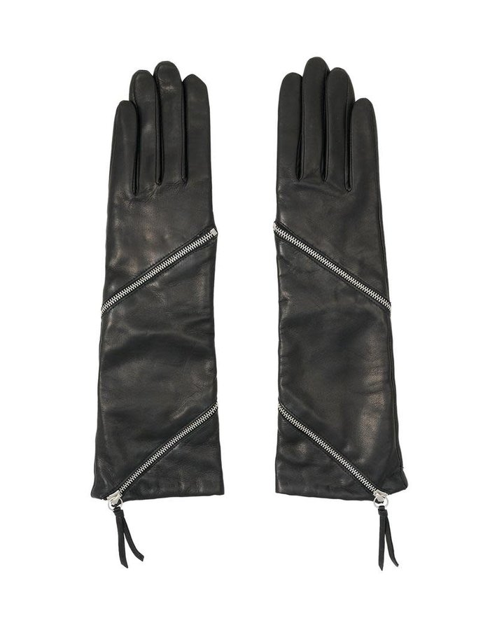 AGNELLE ZIPPER GLOVE WITH CASHMERE LINING
