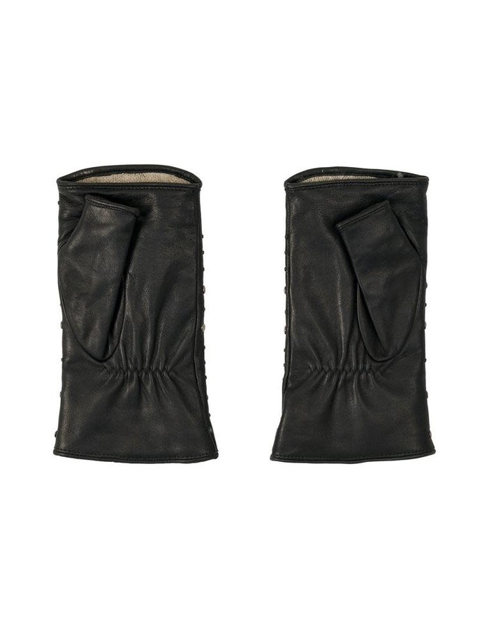 AGNELLE STUDDED FINGERLESS GLOVES - CASHMERE LINING