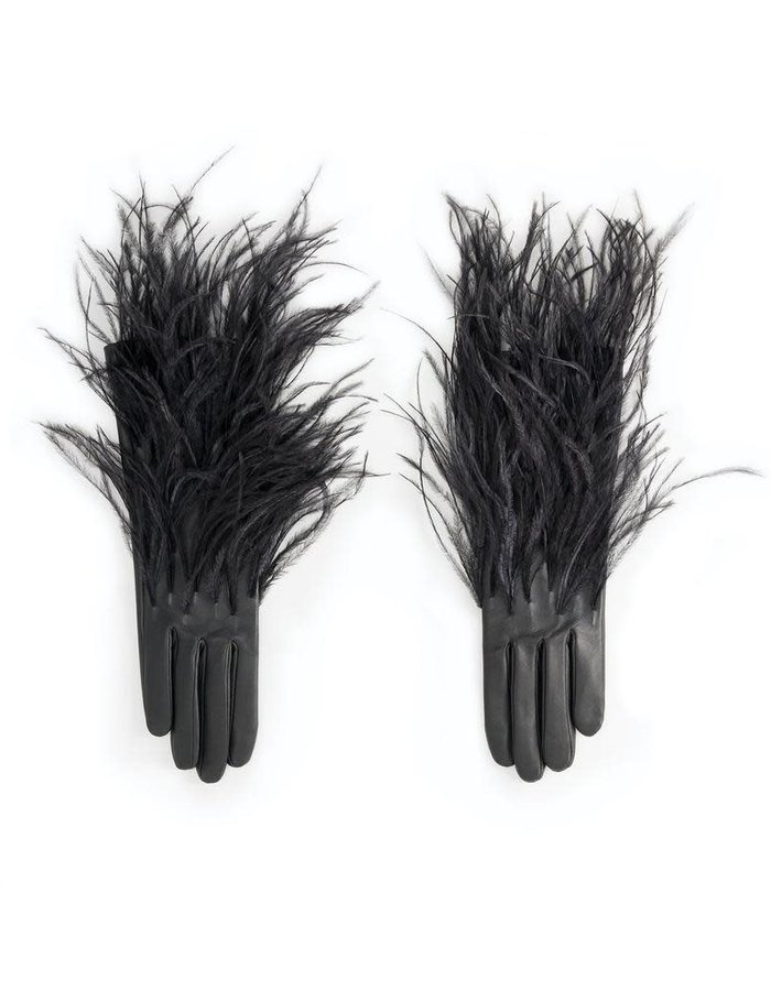 AGNELLE PLUMES GLOVE WITH SILK LINING