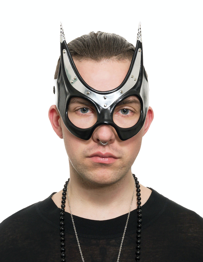 CECILIO LEATHER DESIGNS BASTET METAL AND LEATHER EYEMASK