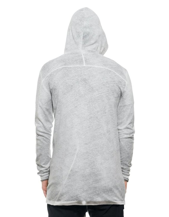 THOM KROM COTTON AND LINEN ZIP FRONT HOODY - SPRAYED