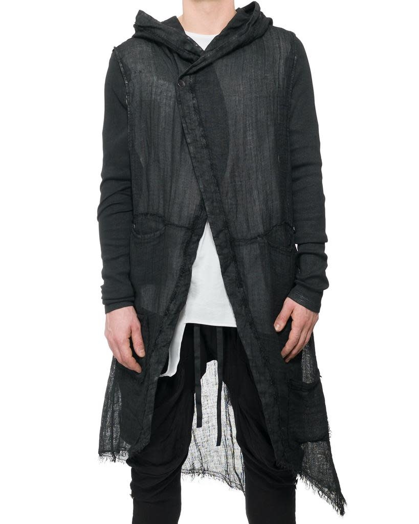 LONG GAUZE VEST WITH REMOVEABLE SLEEVE